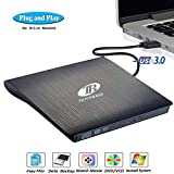 External CD DVD Drive, FRYZOO USB 3.0 CD/DVD +/-RW Drive Ultra Slim DVD CD ROM Burner Rewriter Driver Super High Speed Data Transfer Compatible with Desktop Linux Mac and Laptop (Black) (Balck)