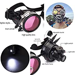 DODOING Victorian Style Spiked Steampunk Goggles Double Ocular Loupe Welding Punk Gothic Glasses #3