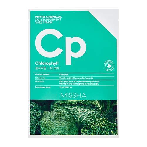 MISSHA Phytochemical Skin Supplement Sheet Mask Chlorophyll AC Care Gesichtsmaske 1 Stück