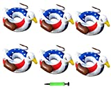 OkeyGo 6 Pack Pool Drink Holder Cute ( Bald Eagle x6 ), Inflatable Float Cup Coasters for Summer Pool Party,with Air Pump …