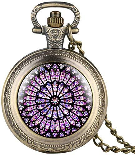 Wghz Reloj de Bolsillo con Cadena Vintage, Bronce El rosetón de Cuarzo con números Romanos Reloj de Bolsillo con Colgante Exquisito Reloj Retro con Cadena de Collar Retro Regalos de Recuerdo para