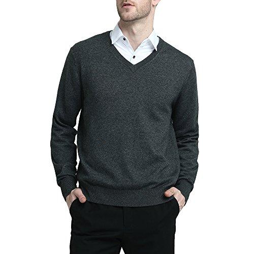 Kallspin Wool V Neck Pullover Sweater Black (XXL, Grey)