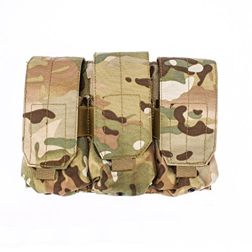 Outry M4 M16 AR-15 Type Magazine Pouch Mag Holder - Triple / Double / Single Airsoft MOLLE Mag Pouch - Velcro Closed Flap Version - Triple - Multicam / CP