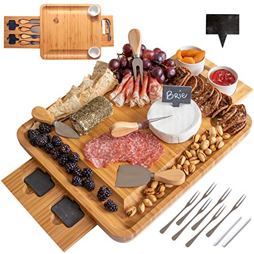 Frux Natural Bamboo Cheese Board and Knife Set. Wood Charcuterie Platter is Ideal Serving Tray for Cheese, Meat, Crackers and Wine. Bowls, Cutlery and Accessories Included. Perfect Housewarming Gift.