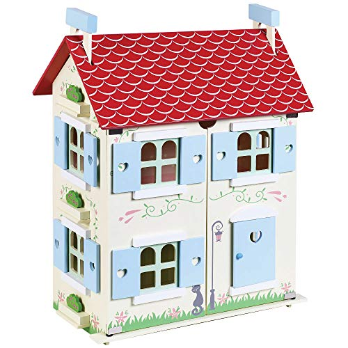jumini Children's Wooden Dolls House - Primrose Cottage, includes Furniture and Dolls - Suitable for Preschool Age 3+ Imaginative Play