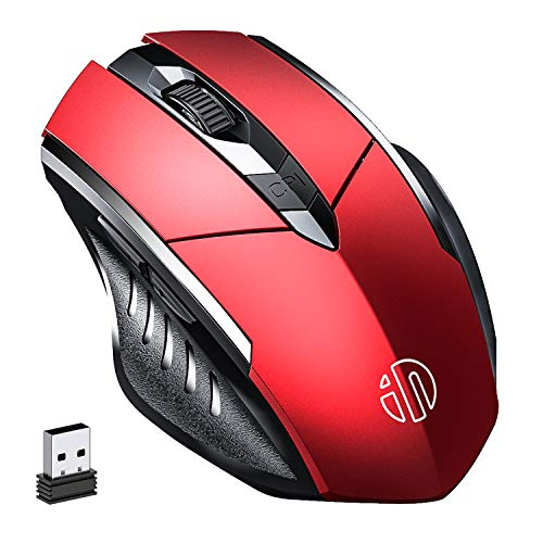Wireless Mouse, inphic Rechargeable 2.4G USB Optical PC Computer Laptop Ergonomic Cordless Gaming Mouse with Nano Receiver, 2000DPI 4 Levels for Windows Mac Linux, Red
