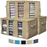 NEATERIZE 3 Compartments Storage Bags | Large Capacity Closet Storage Organizer with Reinforced Handles & Zipper | Fabric Clothes Organization and Storage Bins with Lids For Clothing [Beige]