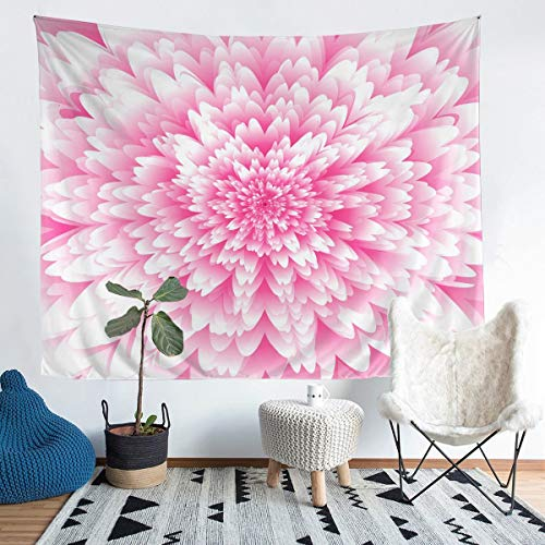Tbrand Girls Floral Print Wall Hanging Girly Chic Blossom Pink Flowers Tapestry Botanical Pattern Wall Blanket for Kids Children Bedroom Decor Wall Art Large 58x79