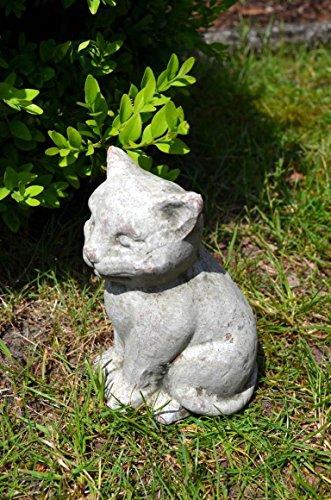 Katze sitzend aus Keramik ca. 14cm Höhe Deko Dekofigur Skulptur grau Gartenfigur Garten