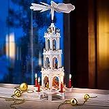 Spielwerk Weihnachtspyramide XL Classic Weiß 4-stöckig drehbar Holzpyramide aus Echtholz Weihnachtsdekoration handbemalt Weihnachten