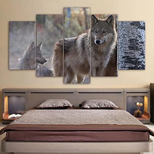 ZHONGZHONG 5 Piezas Cuadro sobre Lienzo Lobo De Pareja De Animales Lienzo Impresión Cuadros Decoracion Salon Grandes Cuadros para Dormitorios Modernos Mural Pared Listo para Colgar