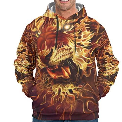 YOUYO Spark Sudadera con capucha para hombre con diseño de león de tigre y animal, con cordón, Hombre, blanco, M