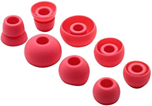 Replacement Silicone Ear Tips Earbuds Buds Set Compatible Powerbeats 2 Powerbeats 3 Wireless Earphones (Red)