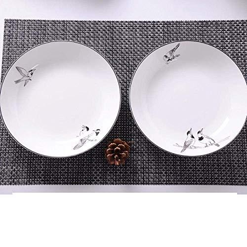 XUSHEN-HU - Juego de porcelana de porcelana de hueso, plato de porcelana profunda, plato de estilo europeo creativo, placa de carne, pájaro, microondas, vintage