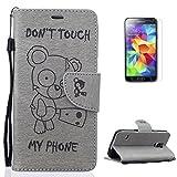 Housse for Samsung Galaxy S5 Coque en Cuir avec [Gratuit Protections D'écran],CaseHome [Don't Touch My Phone] Cute Ours Motif Mode Designer Magnétique Fermeture avec carte-Gris