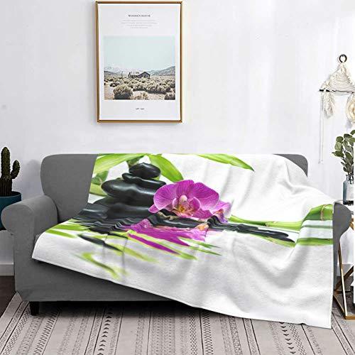 Personalizado Lana Manta,Orquídeas moradas y bambú,Sala/Cuarto/Sofá Cama Franela Edredón Manta de Tiro,80' X 60'