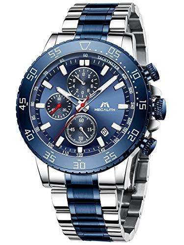 MEGALITH Montre Homme Grand Montres Bracelets Etanche Chronographe Bleu Elegant Lumineuses Montres en Acier Inoxydable Analogique Calendrier
