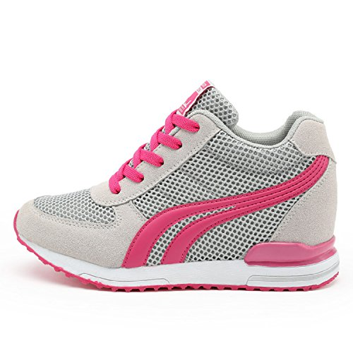 AONEGOLD® Sneakers Zeppa Interna Donna Scarpe da Ginnastica Basse Sportive Fitness Tacco Zeppa 7 CM Nero Bianco Grigio(Grigio,36 EU)