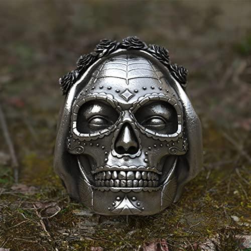 GNEHSL Bague d'horreur Gothique Halloween - 316L St. Mort Rose Crown Sugar Skull Ring, Empilable Punk Rock Biker Ring, Cadeau De Bijoux De Vacances pour Homme Et Femme, Tête De Mort, 13