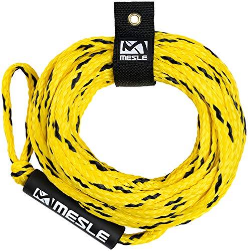 MESLE Schleppleine Pro 4P 60', mit Schwimmer, schwimmendes Schlepp-Seil für 4-Personen, gelb-schwarz, Länge 18,3 m, Polyethylen, Zug-Seil, Schwimmfähig, jeweils Auge an Enden, Fun-Tube, Tow-able