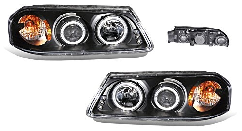 SPPC Projector Headlights Black Assembly Set Halo For Chevrolet Impala - (Pair) Driver Left and Passenger Right Side Replacement Headlamp