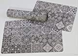 De'Carpet Alfombra Textil Suelo Baldosa Hidráulica Original Moderna Lavable Titan (50x80cm)
