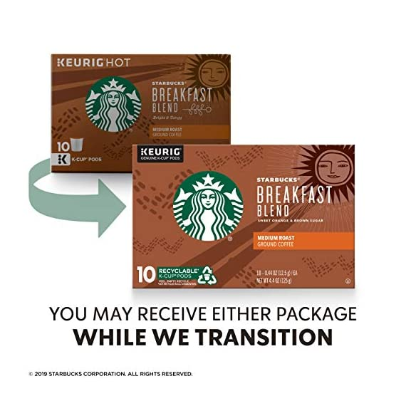 Starbucks Medium Roast K-Cup Coffee Pods — Caramel for Keurig Brewers — 6 boxes (60 pods total) 8 FLAVOR AND ROAST: A lighter, gentler take on the Starbucks roast, Starbucks Veranda Blend is flavorful without being overly bold PACKAGING CHANGE: We are currently updating our packaging look. You may receive either package for a limited time FOR KEURIG BREWERS: Starbucks K-Cup pods are designed for use with the Keurig Single Cup Brewing System