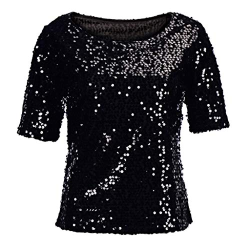 Linkay T Shirt Damen Langarm Bluse Tops Pailletten Oberteile Mode 2019 (Schwarz, XX-Large)