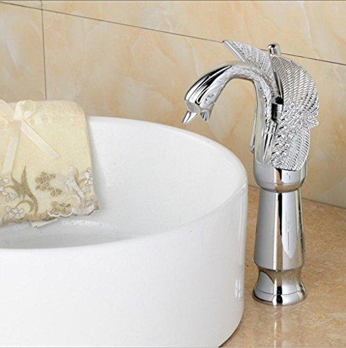 Fen Luxus Tisch Waschbecken Wasserhahn Full Kupfer galvanisch Silber Rocker Schalter High Schwan Waschbecken mit heißem und kaltem Wasser Wasserhahn