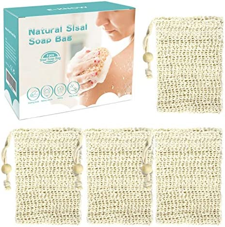 E Know Soap Bag 4 Pack Natural Sisal Soap Saver Zero Waste Plastic free Soap Net Foaming and product image