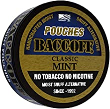 BaccOff, Classic Mint Pouches, Premium Tobacco Free, Nicotine Free Snuff Alternative (5 Cans)