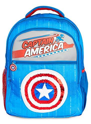 Marvel Mochilas Escolares Con Escudo Capitan America, Mochila Escolar Con Diseño de Lentejuelas, Mochila Infantil Para Colegio Deportes Viajes, Regalos Para Niños Niñas Adolescentes