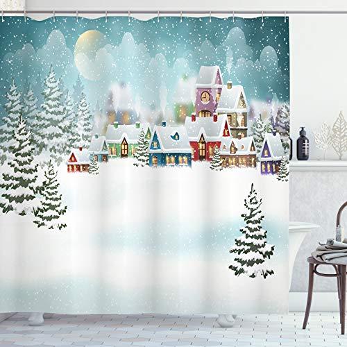 ABAKUHAUS Weihnachten Duschvorhang, Schnee Stadt Winterurlaub, aus Stoff inkl.12 Haken Digitaldruck Farbfest Langhaltig Bakterie Resistent, 175x200 cm, Kadett-Blau Multicolor
