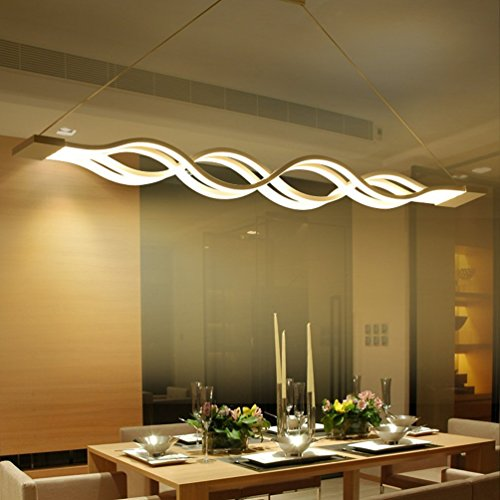 ARKTIVO Lampadario Moderni LED, Dimmerabile Lampadario a sospensione regolabile 60W Lampada e Plafoniere,3000k-6000k Lampadario WiFi,Funziona con Alexa,Google Home, Dimmerabile Tramite APP