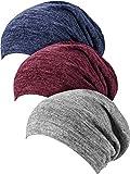 3 Piezas de Gorro de Dormir Satinado Gorra Encorvada Sombrero para Mujeres (Línea Azul Oscuro, Línea Gris Oscuro, Línea Rojo Vino)