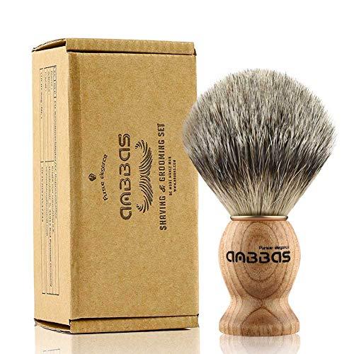 Shaving Brush, Handmade Pure Badger Hair Brush with Natural Manchurian Ash Wood Handle for Men Traditional Wet Shaving