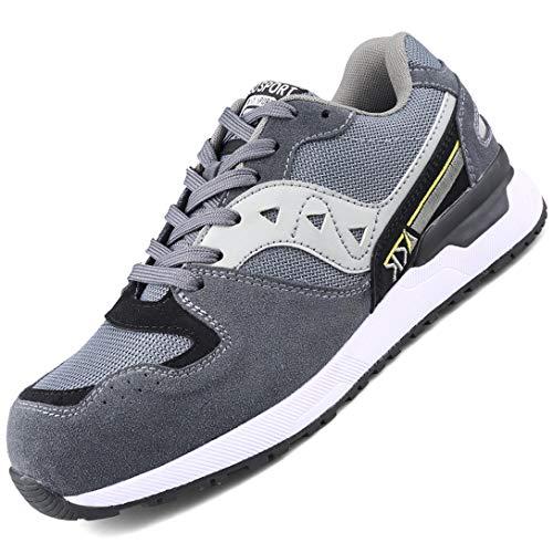 WODEQ Hombre Zapatos de Seguridad Mujer Zapatillas de Seguridad Trabajo con Puntera de Acero para Calzado de Industrial y Deportiva,Gris,39EU