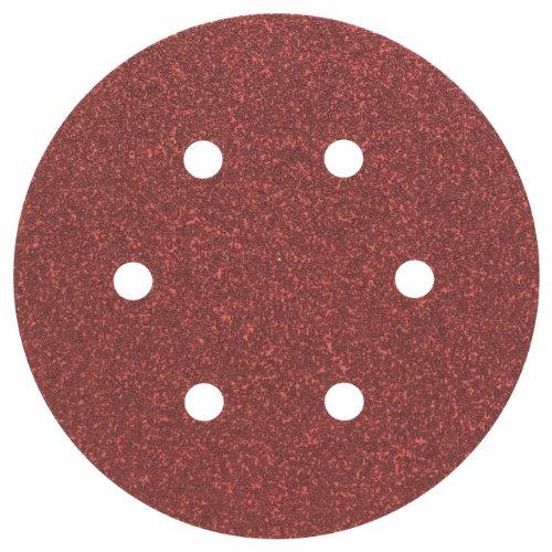 Bosch Professional Bosch 2608605717 Disque abrasif pour ponceuse excentrique Ø 150 mm 6 Trous Grain 60 5 pièces, Gris, 150mm