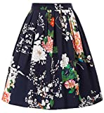 GRACE KARIN Falda Plisada Estampada de Años 50 Falda Vintage Floral para Fiesta Cótel CL6294-31 2XL