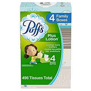 Puffs Plus Lotion Facial Tissues, 4 Family Boxes, 124 Tissues per Box (496 Tissues Total) (B00H1M24HC) | Amazon price tracker / tracking, Amazon price history charts, Amazon price watches, Amazon price drop alerts