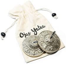 Handmade Tibetan Tingsha Cymbals (2.6, Vajra Silver)- Premium Dorje Tibetan Tingsha Cymbals - Buddhist Meditation Bell - Yoga/Spiritual/Buddhist/Chimes/Hand percussion instrument/Home Decor Gift Set