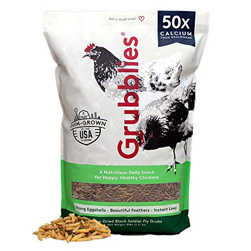Grubblies Original USA & CA – Natural Grubs for Chickens - Chicken Feed Supplement with 50x Calcium, Healthier Than Mealworms - Black Soldier Fly Larvae Treats for Hens, Ducks, Birds (5 lbs)
