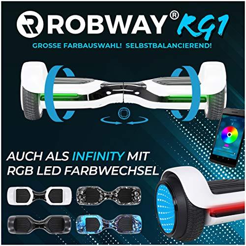 Robway Rg1 Hoverboard - Das Original - Self e Balance - 2 x 350 Watt Motoren – Led 16 Mio Farben - Bluetooth – App - Lithium Akku (Weiß/Schwarz)