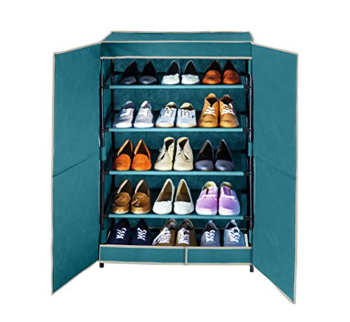 WENKO 4381634500 Schuhschrank Breeze, für bis zu 15 Paar Schuhe, Polypropylen, 61 x 90 x 32 cm, Petrol