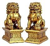 DWhui Latón Estatua del león Riqueza Porsperity Ornamento par de Escultura de Fu Foo Perros Guardian, Mejor estreno de una casa de felicitación for alejar el Mal de Energía, Conjunto (Color : Set)