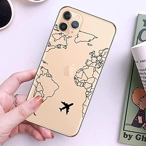 WQDWF Fundas de teléfono de TPU Suave de Viaje con Mapa del Mundo para iPhone 12 Pro XS MAX XR 7 8 Plus 6S Cubierta de avión para iPhone 11, 22045, para iPhone 12mini