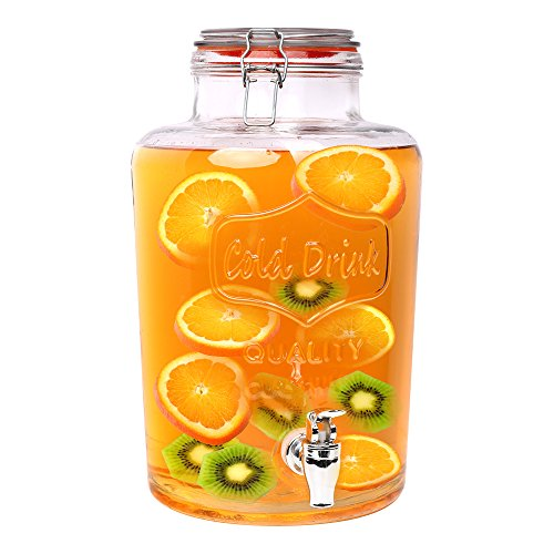 Dispensador de bebida S/o® botella con grifo jarra de zumo con grifo aspecto de tarro de conserva aprox. 7.5 litros vasos de cocktail de cristal prémium retro jardín terraza