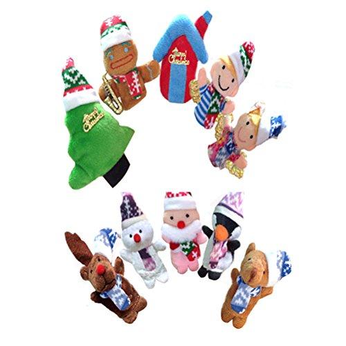 STOBOK Weihnachten Fingerpuppen Plüschtier Tannenbaum Spielzeug Handpuppe für Kinder 10 Stück