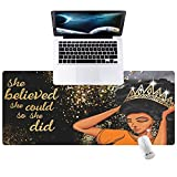Hunthawk Large Desk Mat, Pretty Afro Girl Mouse Pad, Desktop Home Office School Cute Decor Big Extended Pretty Desk Pad for Gaming Laptop Computer Accessories 35.4'x15.7'x0.1'