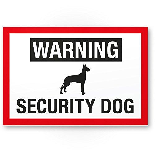 Warning Security Dog - Hunde Kunststoff Schild, Hinweisschild Gartentor/Gartenzaun - Türschild Haustüre, Warnschild Abschreckung/Einbruchschutz - Vorsicht/Achtung Hund